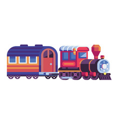 retro steam train with wagon in flat vector image