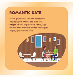 romantic date dining at restaurant square banner vector image