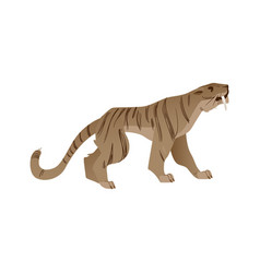 saber-toothed tiger with big fans icon vector image