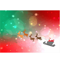 santa sleigh flying in the christmas sky vector image