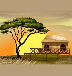 Scene with wooden hut in field vector