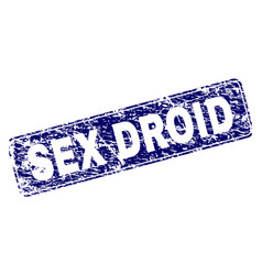 Scratched sex droid framed rounded rectangle stamp vector