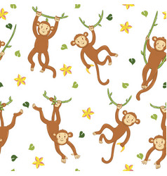 Seamless pattern with monkeys on vines vector