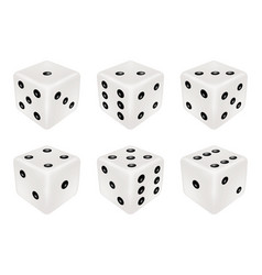 set a white dice three dimensions vector image