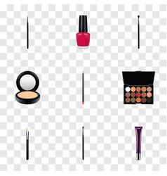 Set of cosmetics realistic symbols with eyeshadow vector