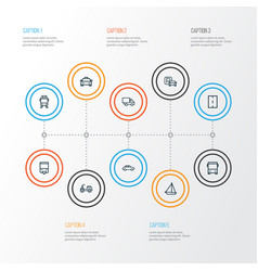 Shipment outline icons set collection of sailing vector