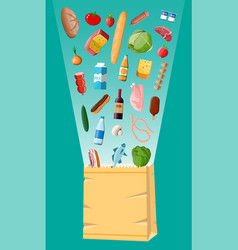 shopping paper bag with fresh products vector image