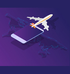 Smartphone with airplane on world map isometric vector