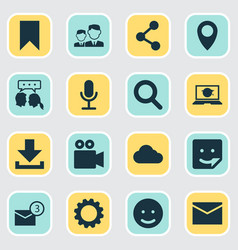Social icons set collection publish smile vector