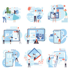 Social mobile email referral digital marketing vector