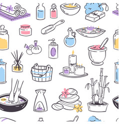 spa massage icons therapy cosmetic vector image