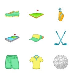 Sport golf icons set cartoon style vector