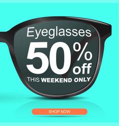 Sunglasses for half price concept big sale 50 off vector