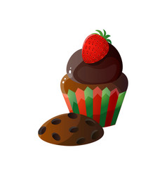 sweet chocolate cupcake in stripped pack with vector image
