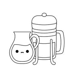 teapot and bottle kawaii style vector image