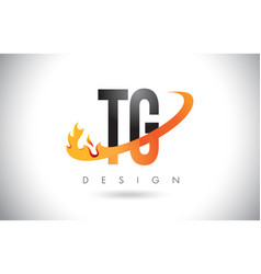 Tg t g letter logo with fire flames design and vector