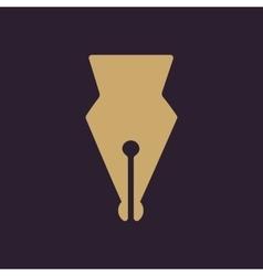 The pen icon Fountain Pen symbol Flat vector image