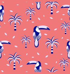 toucan and palms seamless pattern for fabric vector image