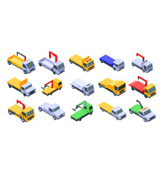 Tow truck icons set isometric style vector