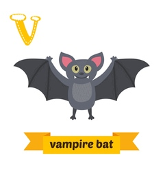 Vampire bat V letter Cute children animal alphabet vector