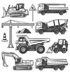 vintage construction machines set vector image