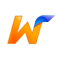 W letter blue and Orange logo design Fast speed vector