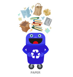 waste sorting and recycling concept color vector image