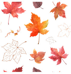 Watercolor seamless pattern autumn maple leaves vector