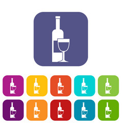 wine bottle and glass icons set flat vector image