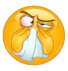 Wiping nose emoticon vector
