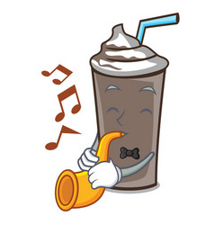 with trumpet ice chocolate mascot cartoon vector image