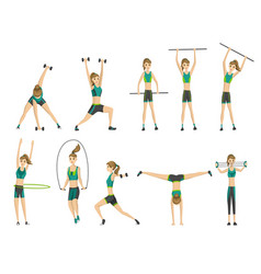 woman fitness many icons girl doing sport vector image