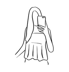 woman taking selfie with mobile phone vector image
