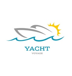 Yacht club logo Sea or ocean trip adventure vector