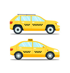 Yellow taxicab transporttion isolated on white vector