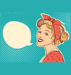 Young retro woman portrait with speak bubble vector