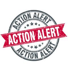 action alert round grunge ribbon stamp vector image vector image
