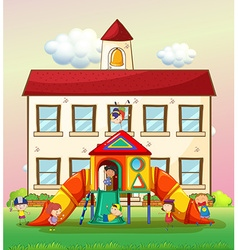 Children playing slide at school vector image vector image
