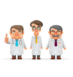 doctors team experienced fat thin tall mustache vector image