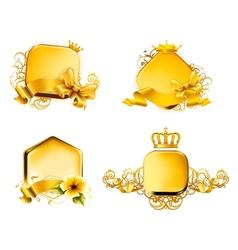 Golden Emblem set vector image vector image