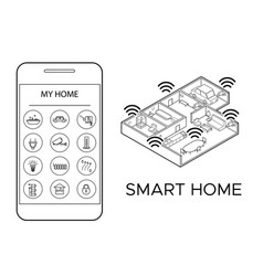 monochrome smart home concept vector image