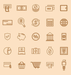 payment line color icons on brown background vector image vector image