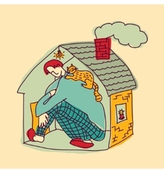 Small home young man color vector image