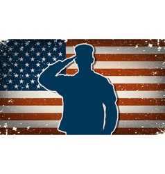US Army soldier on grunge american flag background vector image