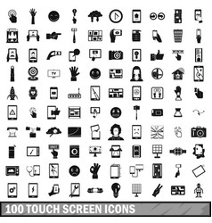 100 touch screen icons set simple style vector