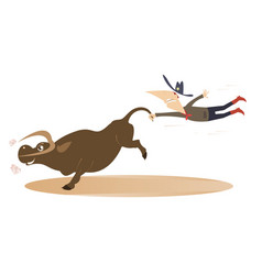 Cartoon rodeo with cowboy and bull vector