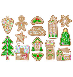 christmas gingerbread figures on white vector image vector image