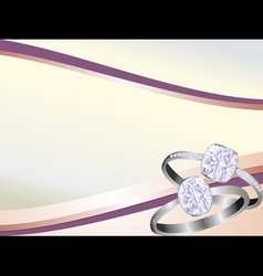 Diamond rings sparkling on pink swirl background vector