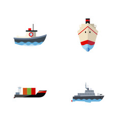 flat icon boat set of delivery transport ship vector image vector image