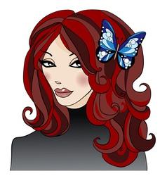 GirlWithButterflyInHair vector image